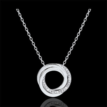 Necklace Saturn - white gold and diamonds - 18 carats