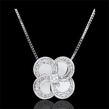 Necklace Eclosion - White Clover - gold and diamonds
