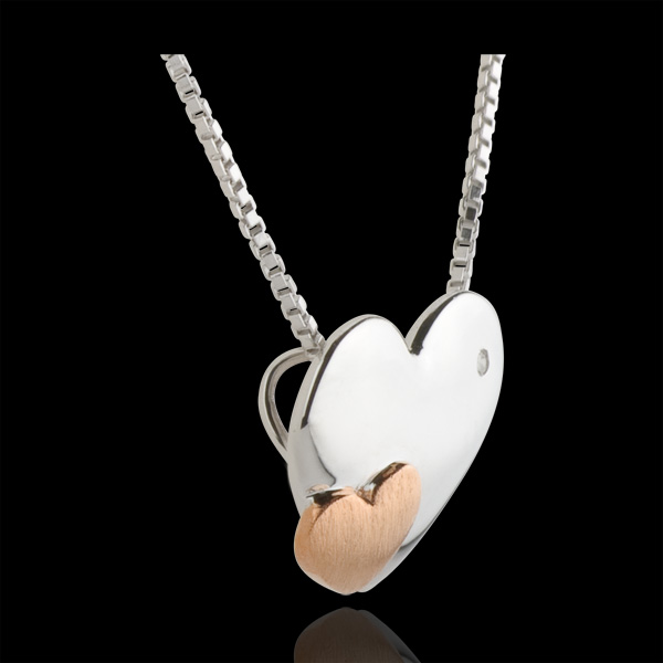 Necklace Sweet Hearts - Pink gold and white gold