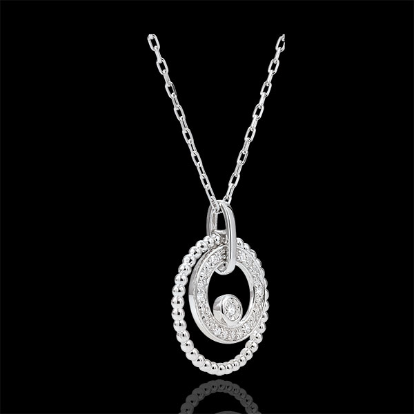 Necklace white gold and diamonds - Salty Flower - Circle - white gold - 18 carat