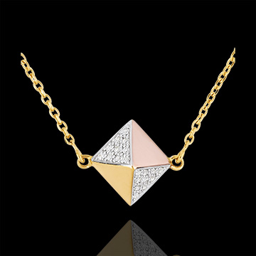 Necklace Genesis - Rough diamond 3 golds - 9 carat