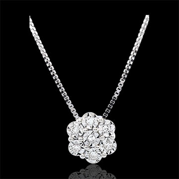 Freshness Necklace - Flower Snowflake - 7 diamonds and white gold