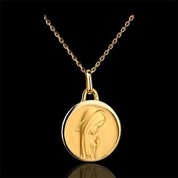 Nowoczesny medalik z Matką Boską o wypukłych brzegach 17mm - złoto żółte 18-karatowe