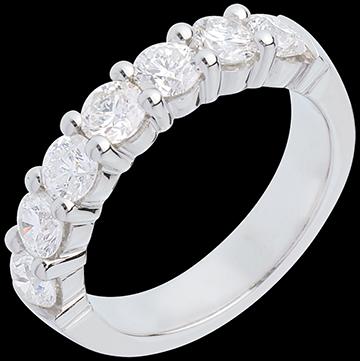 Obrączka z białego złota 18-karatowego w połowie wysadzana diamentami - krapy - 1,5 karata - 7 diamentów