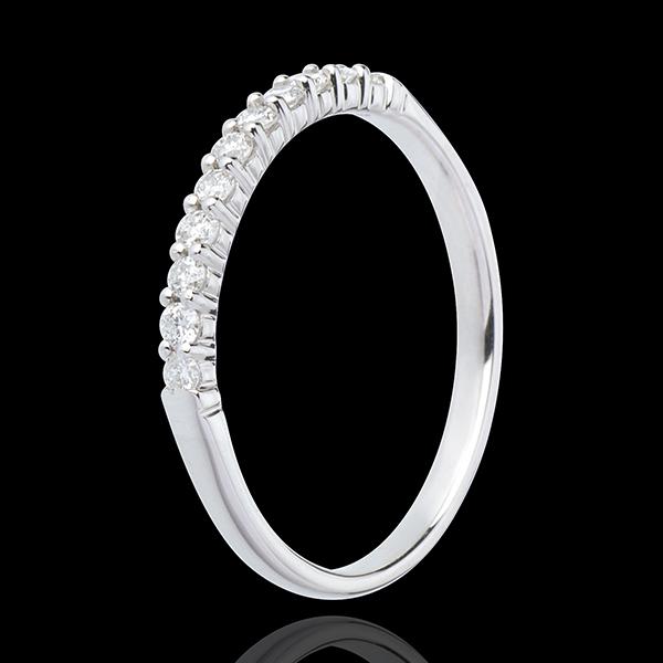 Obrączka z białego złota 18-karatowego w połowie wysadzana diamentami - krapy - 11 diamentów