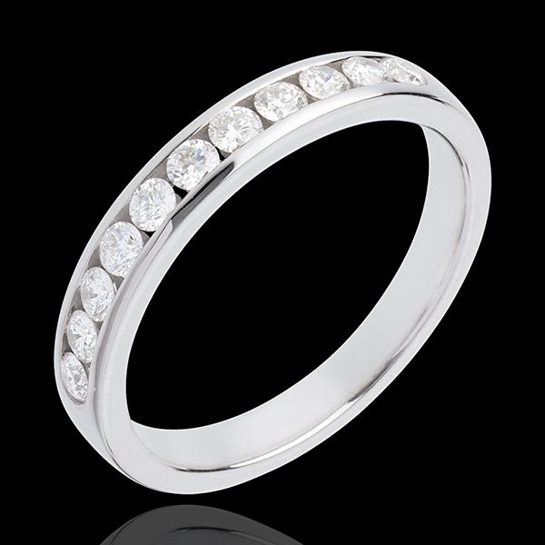 Obrączka z białego złota 18-karatowego w połowie wysadzana diamentami - oprawa kanałowa - 0,4 karata - 11 diamentów
