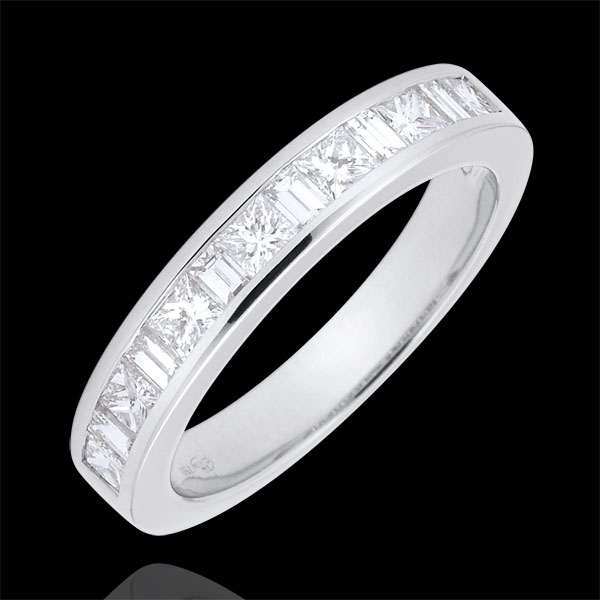 Obrączka z białego złota 18-karatowego w połowie wysadzana diamentami - oprawa kanałowa - 0,7 karata