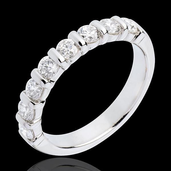 Obrączka z białego złota 18-karatowego w połowie wysadzana diamentami - oprawa sztabkowa - 0,75 karata - 8 diamentów