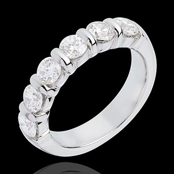 Obrączka z białego złota 18-karatowego w połowie wysadzana diamentami - oprawa sztabkowa - 1,5 karata - 6 diamentów