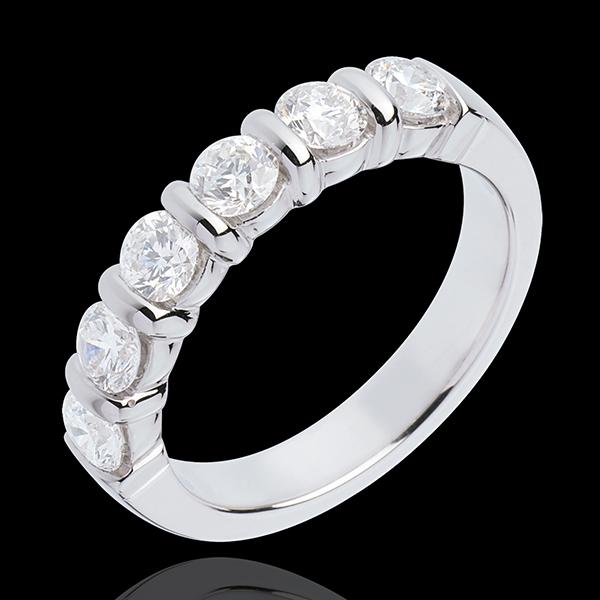 Obrączka z białego złota 18-karatowego w połowie wysadzana diamentami - oprawa sztabkowa - 1 karat - 6 diamentów