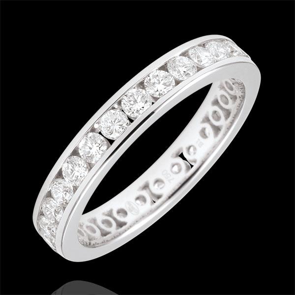 Obrączka z białego złota 18-karatowego wysadzana diamentami - oprawa kanałowa - 1,07 karata - Pełny obwód