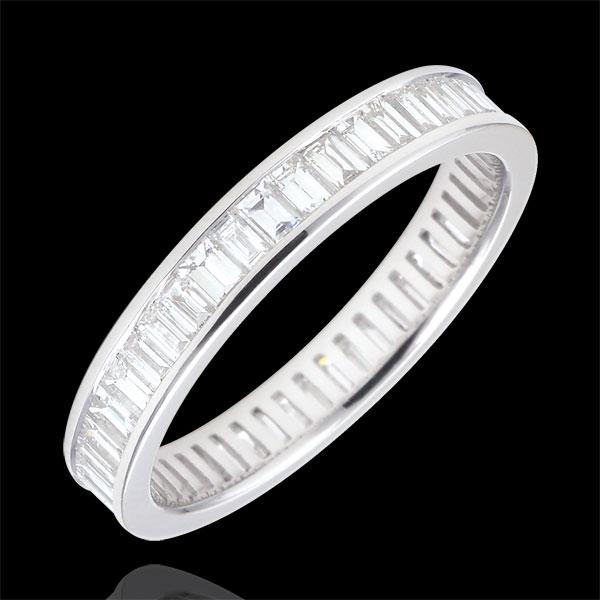 """Obrączka z białego złota 18-karatowego wysadzana diamentami - oprawa kanałowa - 1,22 karata - diamenty o szlifie """"bagieta"""" - Peł"""