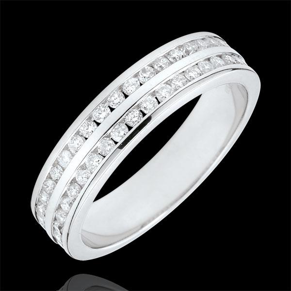 Obrączka z białego złota 9-karatowego w połowie wysadzana diamentami - oprawa kanałowa w 2 rzędach - 0,32 karata - 32 diamenty