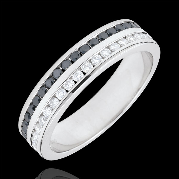 Obrączka z białego złota 9-karatowego, wysadzana w połowie diamentami i czarnymi diamentami - oprawa kanałowa w 2 rzędach - 0,32