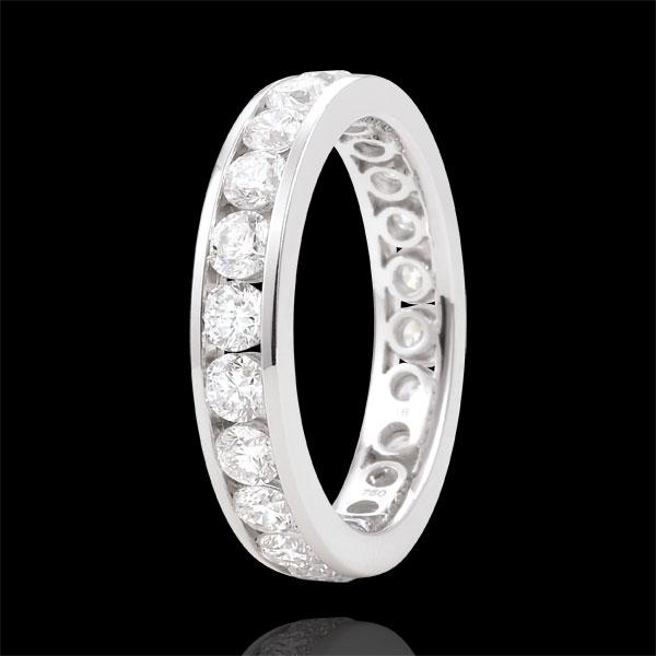 Obrączka z białego złota wysadzana diamentami - oprawa kanałowa - 1,9 karata - 23 diamenty