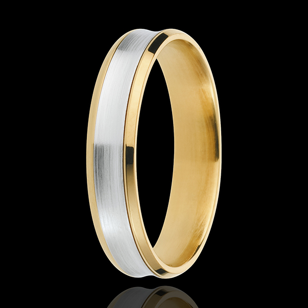 Obrączka Dandys - 4mm - złoto białe i złoto żółte 18-karatowe