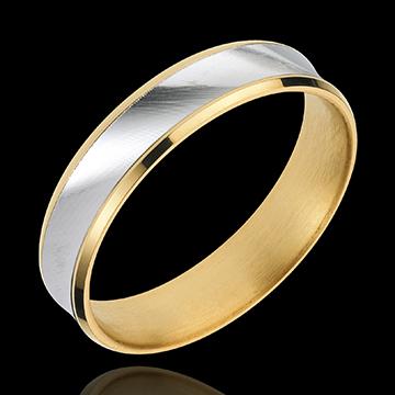 Obrączka Dandys - 5mm - wersja - złoto białe i złoto żółte 18-karatowe