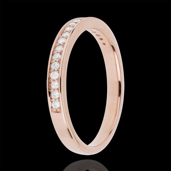 Obrączka - Diament - złoto różowe 18-karatowe