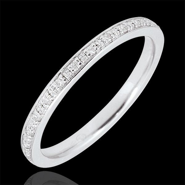 Obrączka Diamentowy Blask - pełny obwód - złoto białe 18-karatowe i diamenty