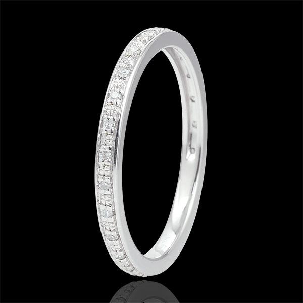 Obrączka Diamentowy Blask - pełny obwód - złoto białe 9-karatowe i diamenty