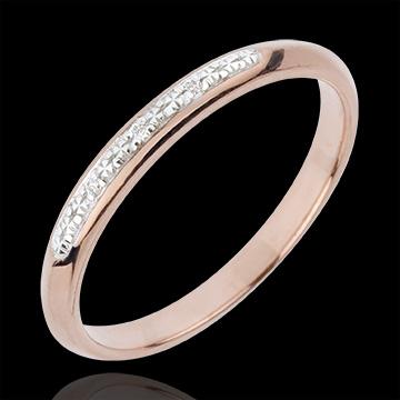 Obrączka - Drobne Diamenty - złoto białe i złoto różowe 18-karatowe