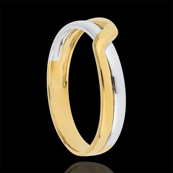 Obrączka Eden Pasja z dwóch rodzajów złota - złoto białe i złoto żółte 9-karatowe