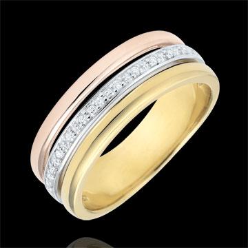 Obrączka Egérie - trzy rodzaje złota i diamenty - trzy rodzaje złota 9-karatowego
