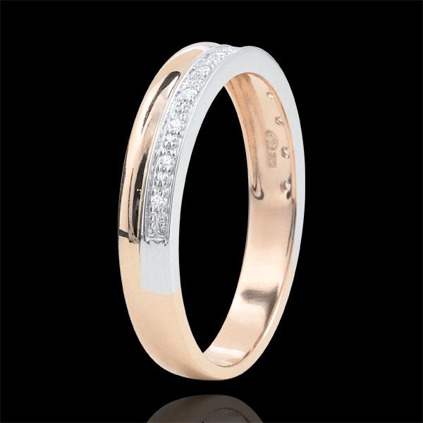 Obrączka Elegancja z białego i różowego złota 9-karatowego