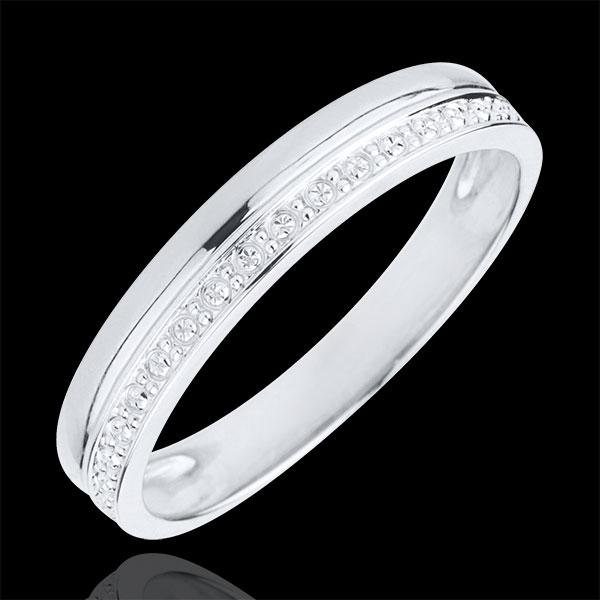 Obrączka Elegancja z białego złota 18-karatowego