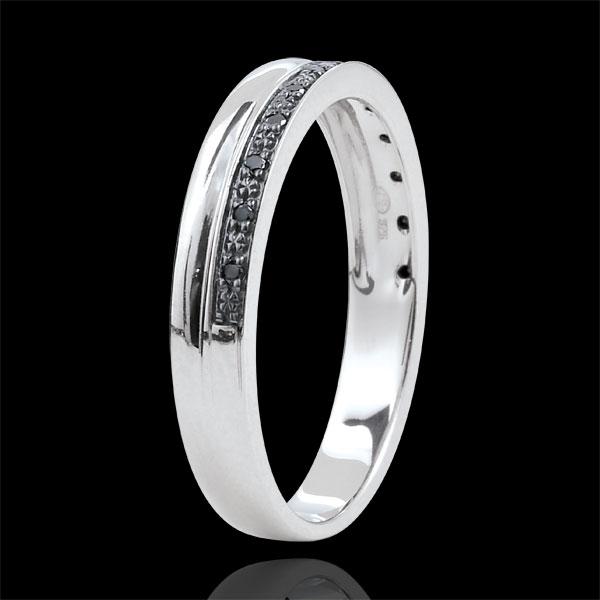 Obrączka Elegancja z białego złota 9-karatowego i czarnych diamentów