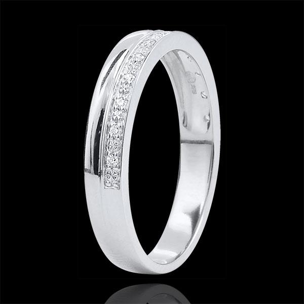 Obrączka Elegancja z białego złota 9-karatowego i diamentów