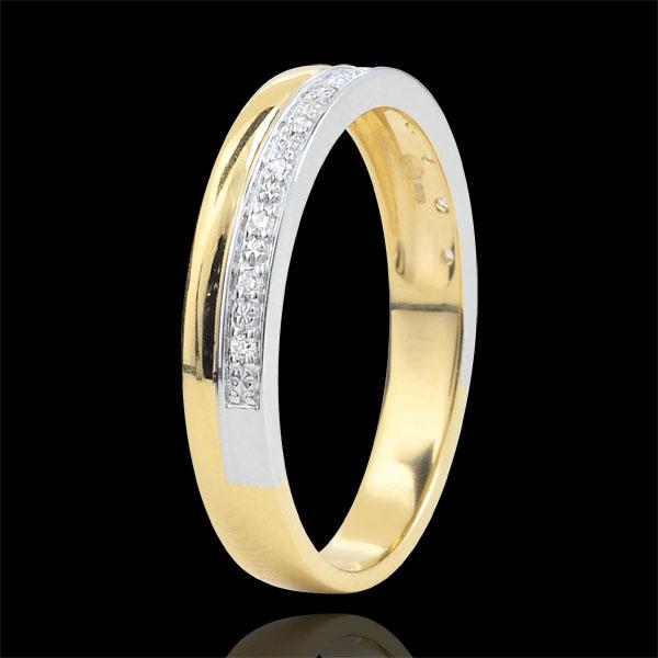 Obrączka Elegancja z diamentami - złoto białe i złoto żółte 9-karatowe