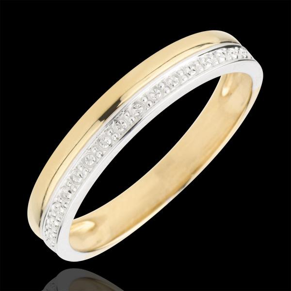 Obrączka Elegancja - złoto białe i złoto żółte 18-karatowe