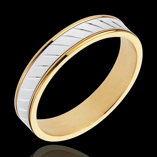 Obrączka Estera II - złoto białe i złoto żółte 18-karatowe