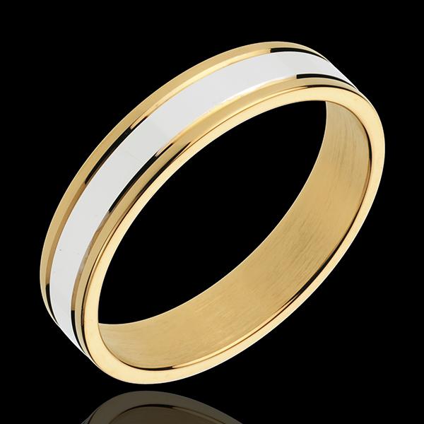 Obrączka Estera III - złoto białe i złoto żółte 18-karatowe