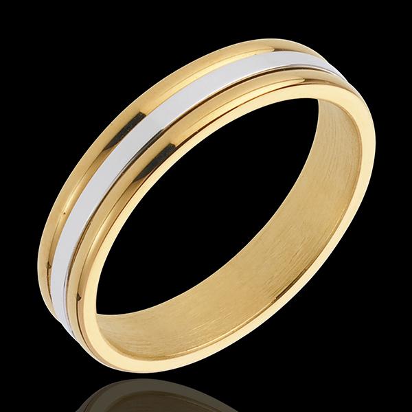 Obrączka Estera I - złoto białe i złoto żółte 18-karatowe