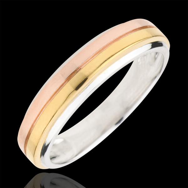 Obrączka Eureka z potrójnym diamentem - trzy rodzaje złota 9-karatowego