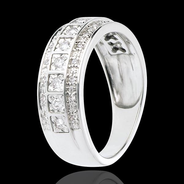 Obrączka Feeria - Galaktyka - 0,28 karata - 33 diamenty - złoto białe 18-karatowe
