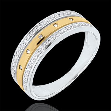 Obrączka Feeria - Gwieździsta Korona - duży model - diament - złoto białe i złoto żółte 9-karatowe