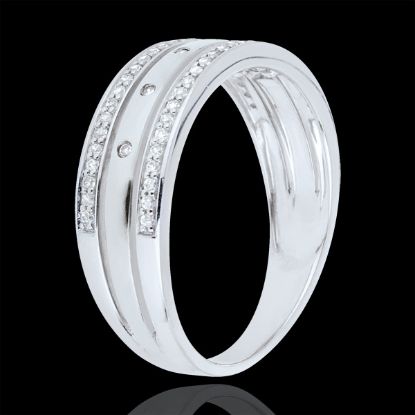 Obrączka Feeria - Gwieździsta Korona - duży model - złoto białe 18-karatowe, diamenty