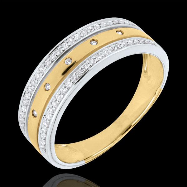 Obrączka Feeria - Gwieździsta Korona - duży model - złoto białe i złoto żółte 18-karatowe