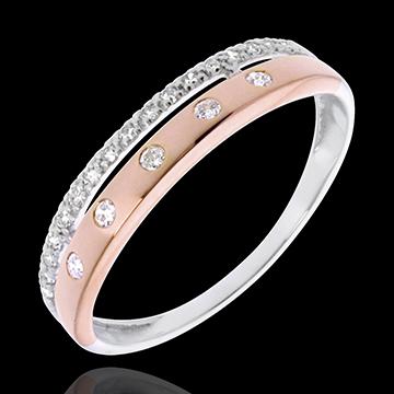 Obrączka Feeria - Gwieździsta Korona - mały model - 22 diamenty - złoto białe i złoto różowe 18-karatowe