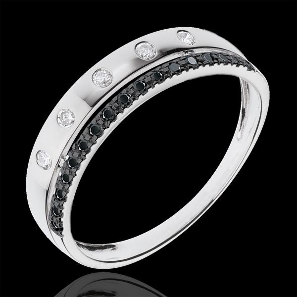 Obrączka Feeria - Gwieździsta Korona - mały model - czarne diamenty - złoto białe 18-karatowe
