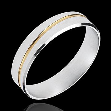 Obrączka Feliks - złoto białe i złoto żółte 18-karatowe