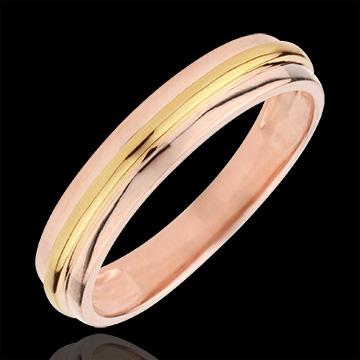Obrączka Helios - złoto żółte i złoto różowe 18-karatowe