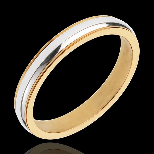 Obrączka Henryk - złoto białe i złoto żółte 18-karatowe