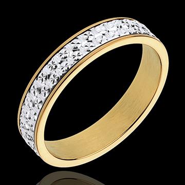 Obrączka Iluzja - złoto białe i złoto żółte 18-karatowe