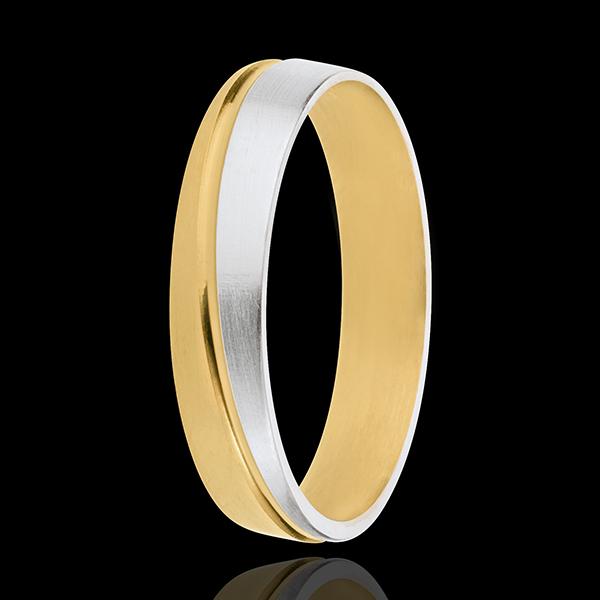 Obrączka Izydor - złoto białe i złoto żółte 18-karatowe