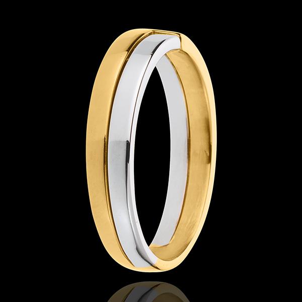 Obrączka Klucz - złoto białe i złoto żółte 18-karatowe