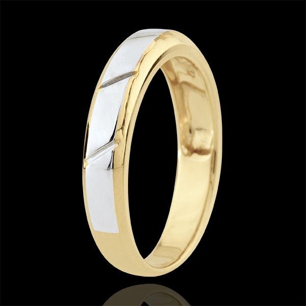 Obrączka Magnus - złoto białe i złoto żółte 9-karatowe